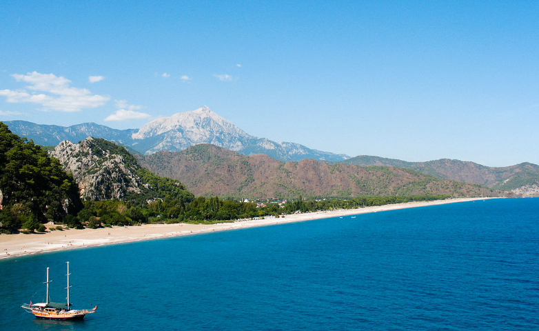 Lycian Way beach and mountain view