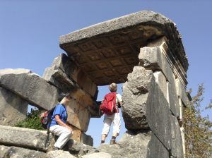 exploring ruins on The Lycian Way