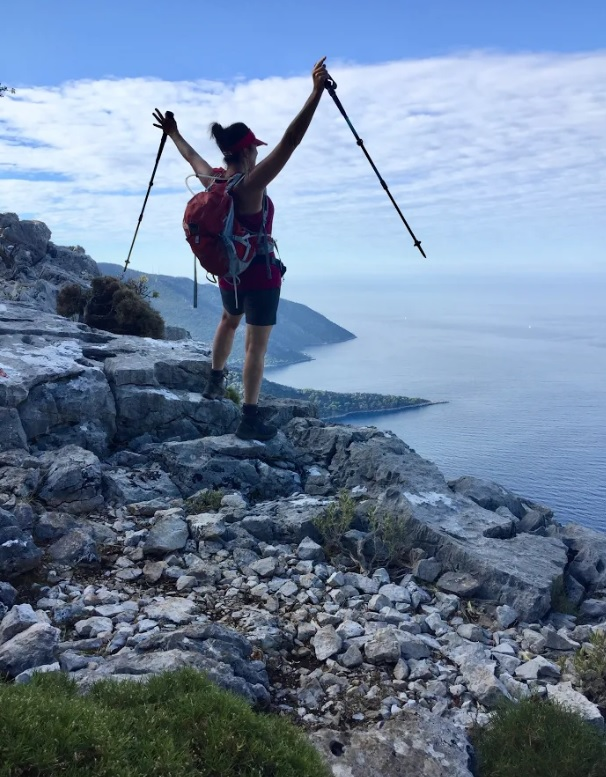 Hiker celebrating on Lycian Way