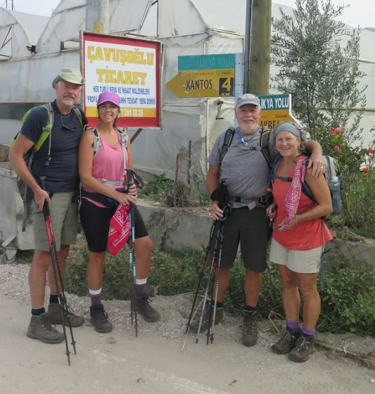 four hikers on The Lycian Way